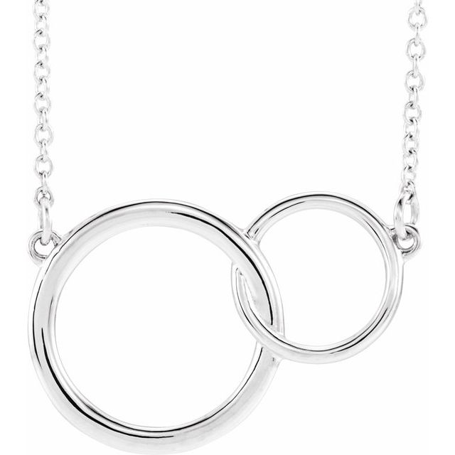 "Sterling Silver 20x14 mm Interlocking Circle 16-18"" Necklace"