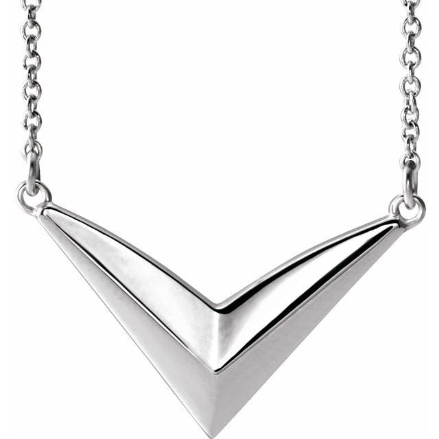 "Sterling Silver ""V"" 16-18"" Necklace"