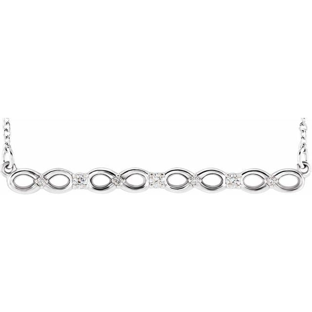 "Sterling Silver .08 CTW Diamond Infinity-Inspired Bar 16-18"" Necklace"