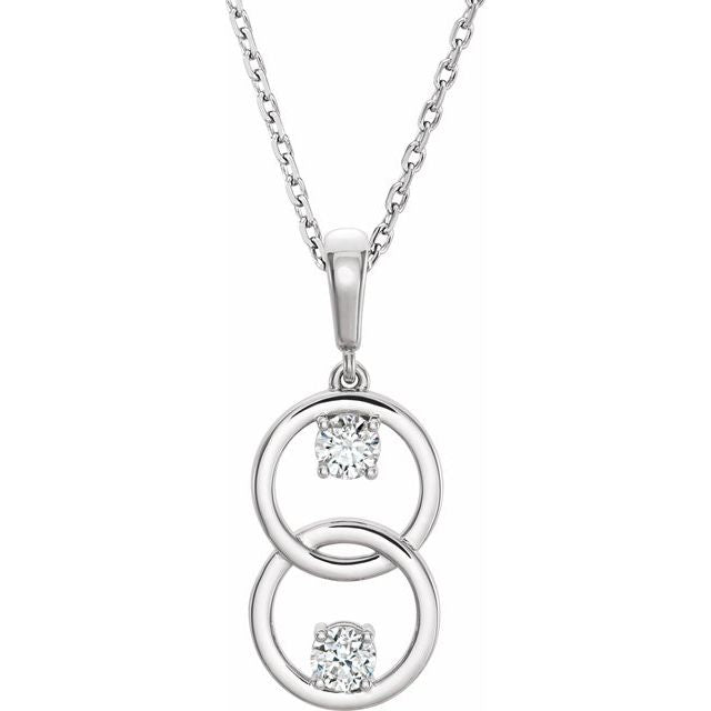 "14K White 5 mm Round Forever One™ Colorless Moissanite Two-Stone 16-18"" Necklace"