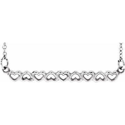 "Sterling Silver Heart Bar 16-18"" Necklace"