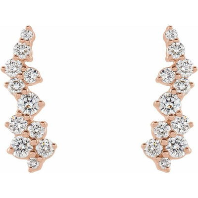 14K Rose 3/8 CTW Diamond Ear Climbers