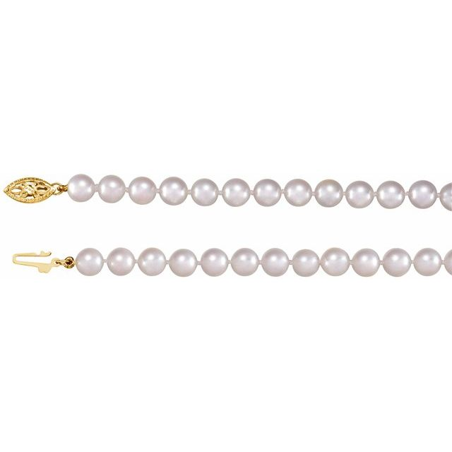 "14K Yellow 6-6.5 mm Akoya Cultured Pearl 24"" Strand"