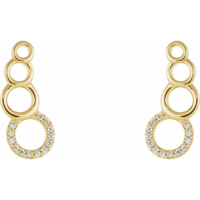 14K Yellow .06 CTW Diamond Geometric Ear Climbers