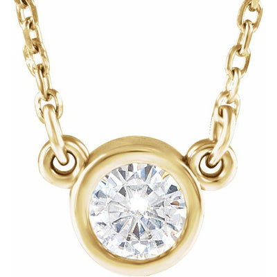 "14K Yellow 3 mm Round Forever One™ Moissanite 18"" Necklace"