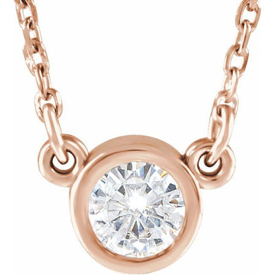 "14K Rose 4 mm Round Forever One™ Moissanite 18"" Necklace"