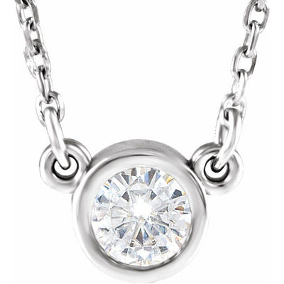 "14K White 4 mm Round Forever One™ Moissanite 18"" Necklace"
