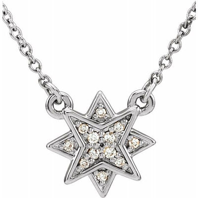 "14K White .04 CTW Diamond Star 16-18"" Necklace - TreasureFineJeweler"
