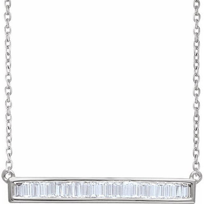 "14K White 1/2 CTW Diamond Baguette Bar 16-18"" Necklace - TreasureFineJeweler"