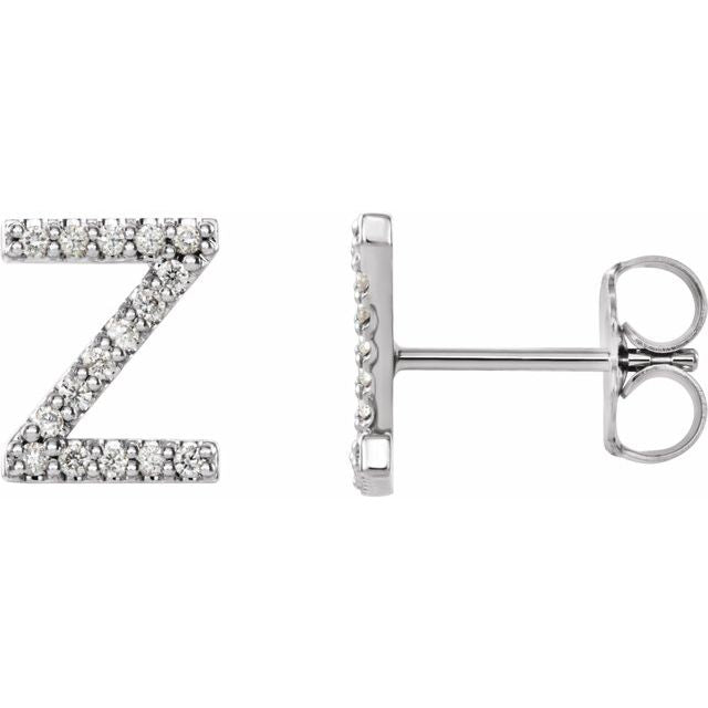 14K White .07 CTW Diamond Single Initial Z Earring