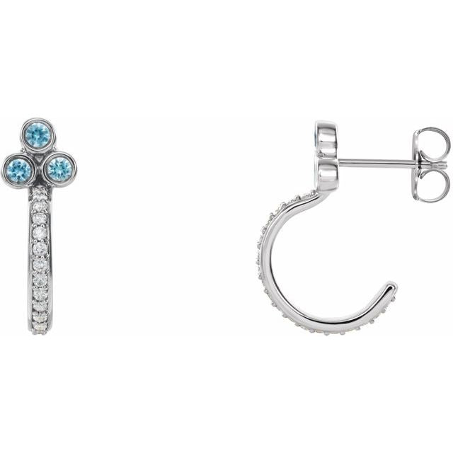 14K White Blue Zircon & 1/4 CTW Diamond J-Hoop Earrings