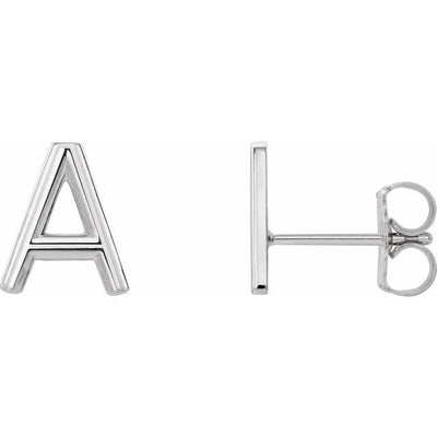 Sterling Silver Single Initial A Earring
