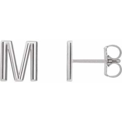 Sterling Silver Single Initial M Earring