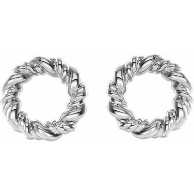 Sterling Silver 9.4 mm Circle Rope Earrings