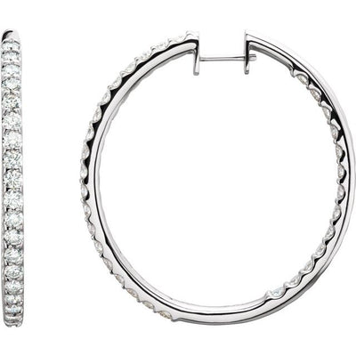 14K White 5 CTW Diamond Inside-Outside Hinged 44 mm Hoop Earrings