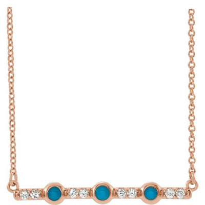 "14K Rose Turquoise & 1/8 CTW Diamond Bar 18"" Necklace"