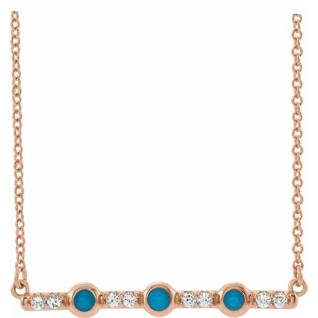 "14K Rose Turquoise & 1/8 CTW Diamond Bar 16"" Necklace"