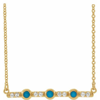 "14K Yellow Turquoise & 1/8 CTW Diamond Bar 16"" Necklace"