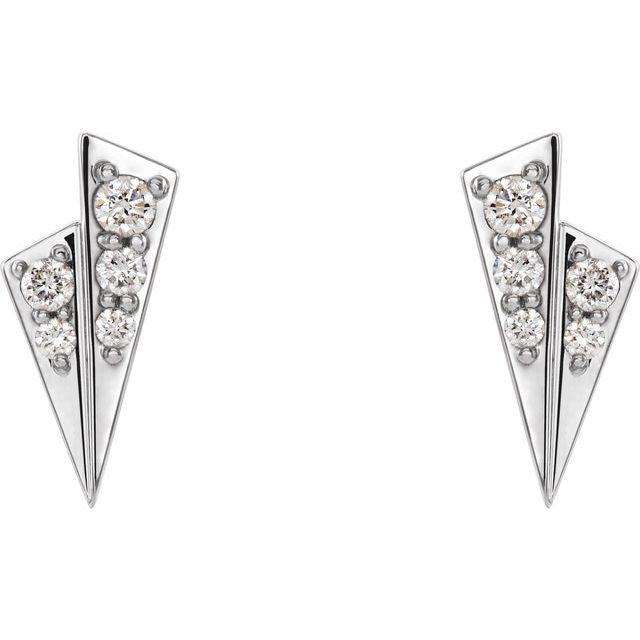 14K White 1/6 CTW Diamond Geometric Earrings