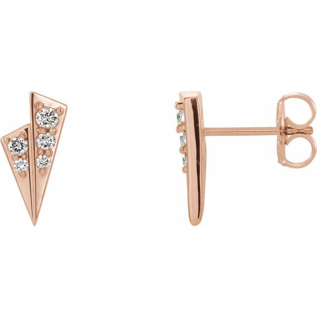 14K Rose 1/6 CTW Diamond Geometric Earrings
