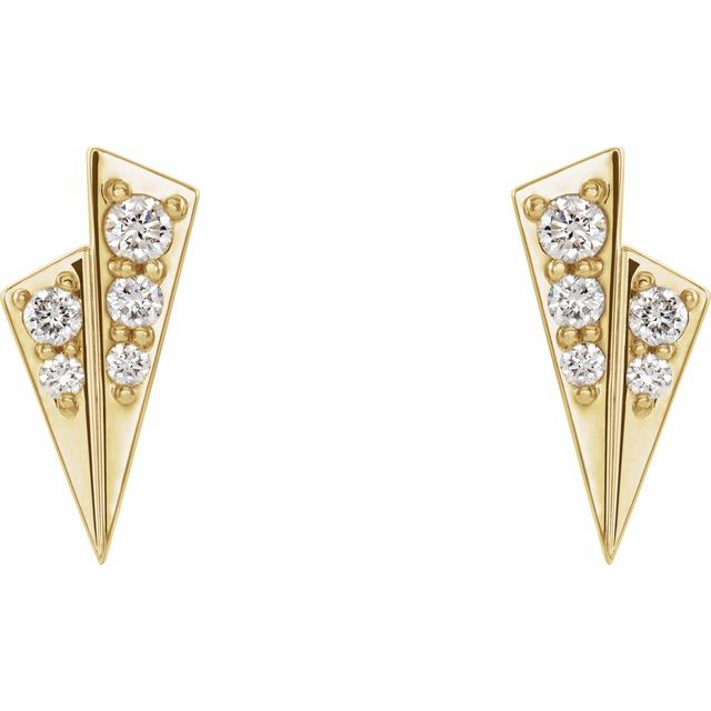 14K Yellow 1/6 CTW Diamond Geometric Earrings