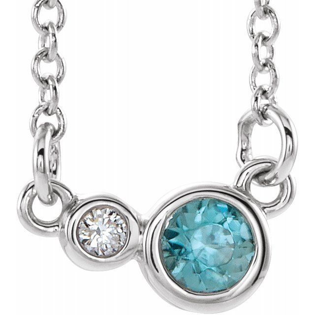 "Sterling Silver Blue Zircon & .02 CTW Diamond 18"" Necklace"