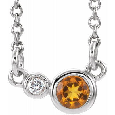 "Sterling Silver Citrine & .02 CTW Diamond 18"" Necklace"