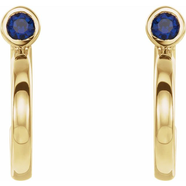 14K Yellow 3 mm Round Blue Sapphire Bezel-Set Hoop Earrings
