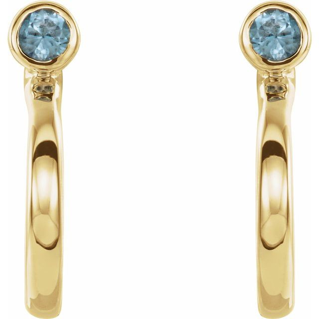 14K Yellow 2 mm Round Blue Zircon Bezel-Set Hoop Earrings