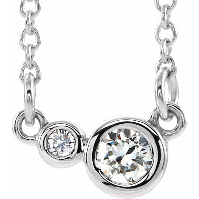 "Sterling Silver 1/8 CTW Diamond 18"" Necklace"