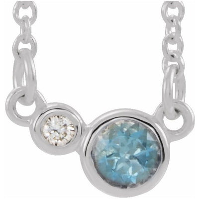 "Sterling Silver Aquamarine & .02 CTW Diamond 18"" Necklace"