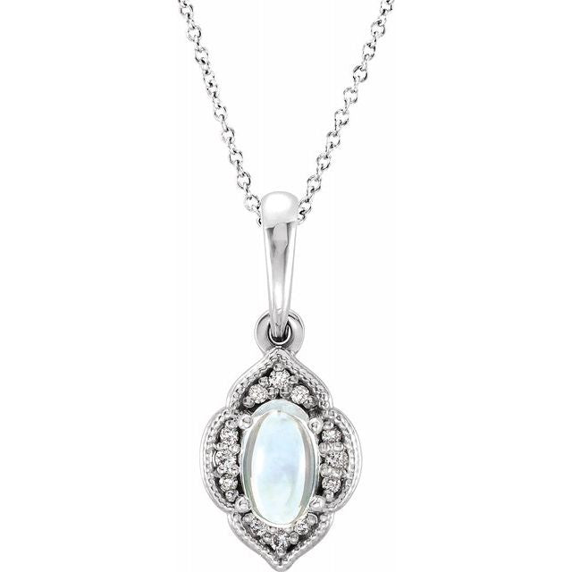 "Sterling Silver Rainbow Moonstone & .03 CTW Diamond Clover 16-18"" Necklace"