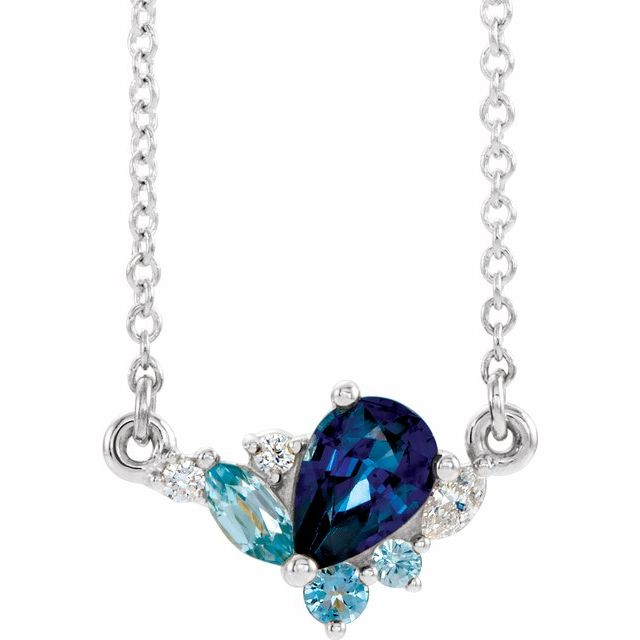 "Sterling Silver Imitation Multi-Gemstone & .06 CTW Diamond 18"" Necklace"