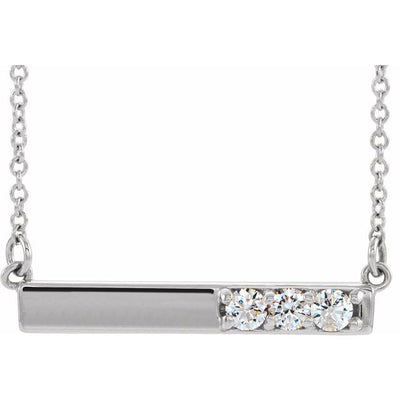 "Sterling Silver 1/5 CTW Diamond Bar 16-18"" Necklace"