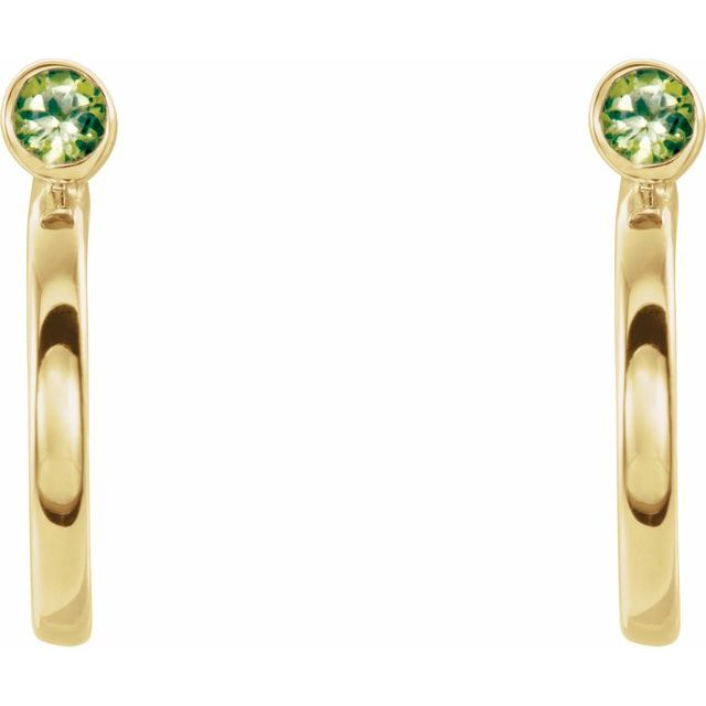 14K Yellow 3 mm Round Peridot Bezel-Set Hoop Earrings