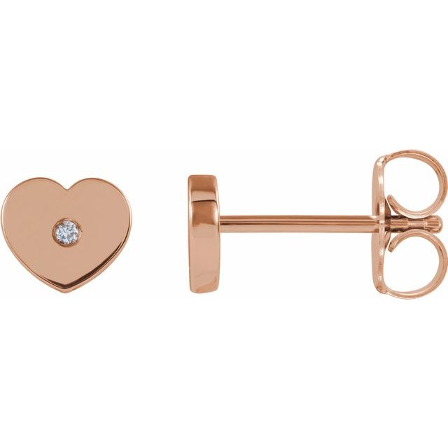 14K Rose .01 CTW Diamond Solitaire Heart Youth Earrings