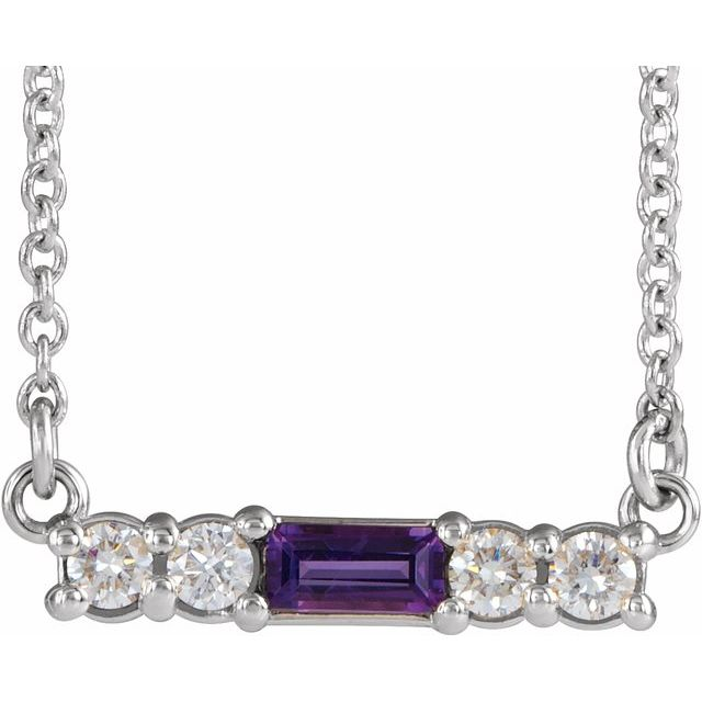 "14K White Amethyst & 1/5 CTW Diamond 18"" Necklace"