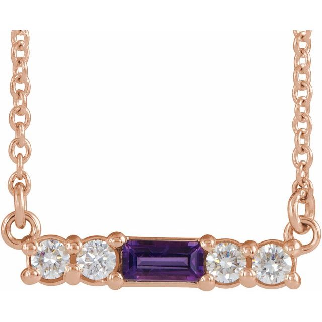 "14K Rose Amethyst & 1/5 CTW Diamond 18"" Necklace"