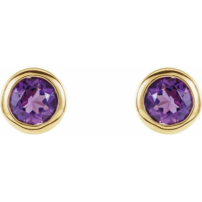 14K Yellow 4 mm Round Genuine Amethyst Birthstone Earrings