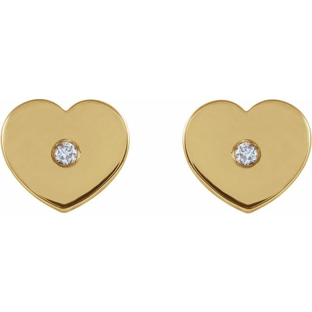 14K Yellow .01 CTW Diamond Solitaire Heart Youth Earrings
