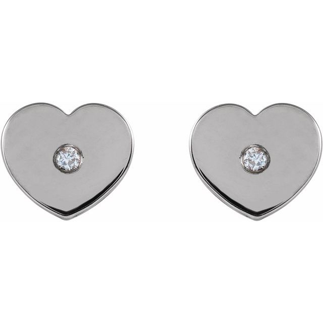 14K White .01 CTW Diamond Solitaire Heart Youth Earrings