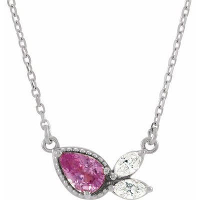 "Sterling Silver Pink Sapphire & 1/6 CTW Diamond 16"" Necklace"