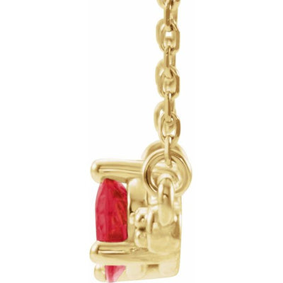 "14K Yellow Chatham® Lab-Created Ruby & 1/10 CTW Diamond Bar 16"" Necklace"