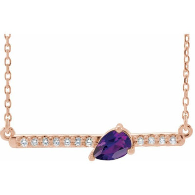 "14K Rose Amethyst & 1/10 CTW Diamond 18"" Necklace"