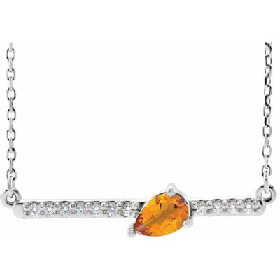 "14K White Citrine & 1/10 CTW Diamond 18"" Necklace"