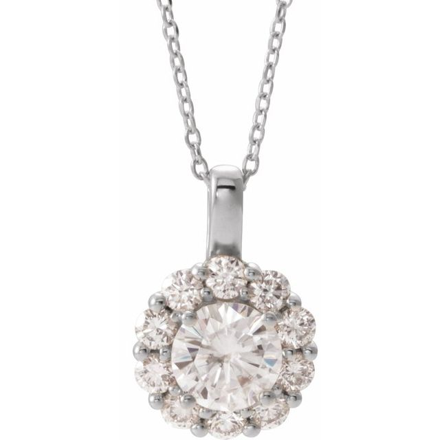 "14K White 6.5 mm Round Forever One™ Moissanite & 5/8 CTW Diamond 16-18"" Necklace"