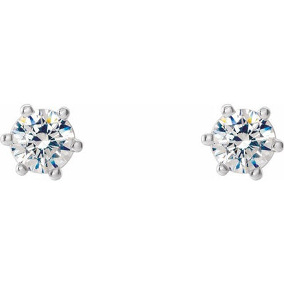 14K White 3.2 mm I3 1/4 CTW Diamond 6-Prong Wire Basket Earrings