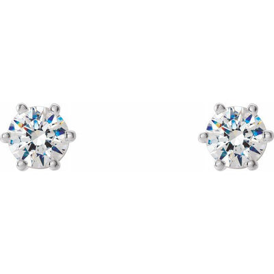 14K White 3.4 mm SI2-SI3 1/3 CTW Diamond 6-Prong Wire Basket Earrings