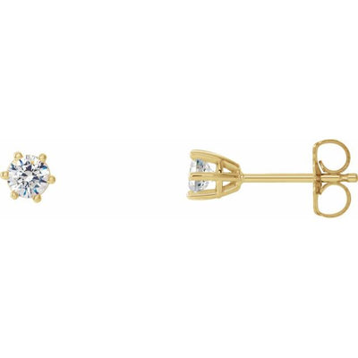 14K Yellow 3 mm SI2-SI3 1/5 CTW Diamond 6-Prong Wire Basket Earrings