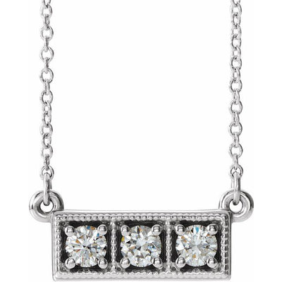 "14K White 1/3 CTW Diamond Three-Stone Granulated Bar 16-18"" Necklace"
